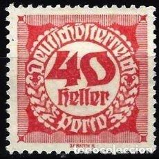 Timbres: AUSTRIA 1920 - SELLO DE FRANQUEO, NUMÉRICOS, NUEVO DISEÑO - MINT SIN GOMA. Lote 225852435