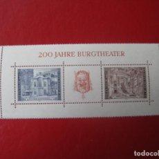 Sellos: *AUSTRIA, 1976, HOJITA BLOQUE 200 ANIVERSARIO BURGTHEATER DE VIENA, YVERT 9. Lote 236264395