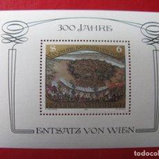 Sellos: *AUSTRIA, 1983, HOJITA BLOQUE 300 ANIV. LIBERACION DE VIENA, YVERT 11. Lote 236265080