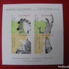Sellos: *AUSTRIA, 2015, HOJITA BLOQUE IMAGENES DE AUSTRIA, SIN DENTAR. Lote 236265440