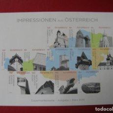 Sellos: *AUSTRIA, 2015, HOJITA BLOQUE IMAGENES DE AUSTRIA, SIN DENTAR. Lote 236265575