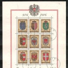 Sellos: AUSTRIA, YVERT HB-9, ESCUDOS, MATASELLADO. Lote 236563130