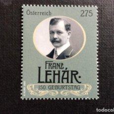 Sellos: AUSTRIA AÑO 2020. 150 ANIVERSARIO NACIMIENTO COMPOSITOR FRANZ LEHAR. Lote 245126040