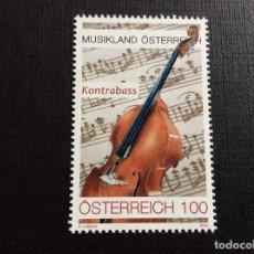 Sellos: AUSTRIA AÑO 2020. INSTRUMENTOS MUSICALES. CONTRABAJO. Lote 245127345