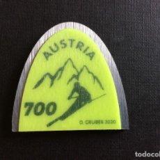 Sellos: AUSTRIA AÑO 2020. DEPORTE. ESQUI. HECHO CON RECUBRIMIENTO METALICO. Lote 265383199