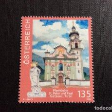 Selos: AUSTRIA AÑO 2020. IGLESIAS DE AUSTRIA. SAN PEDRO Y SAN PABLO, EN GOTZENS. Lote 253578540
