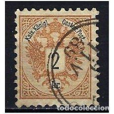 Sellos: 1883 AUSTRIA MICHEL 44 YVERT 40 ESCUDO - USADO - DENTADO 10 1/2. Lote 254681500