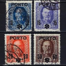 Sellos: 1917 AUSTRIA MICHEL YVERT 60/63 PORTES DEBIDOS SOBREIMPRESO PORTO - USADOS. Lote 254687160