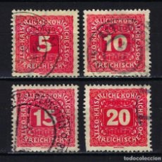 Sellos: 1916 AUSTRIA MICHEL 47/50 YVERT 49/52 TASAS - USADOS. Lote 254693930