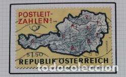 SELLO MAPA DE AUSTRIA: POSTLEIT-ZAHLEN (CÓDIGOS POSTALES) (Sellos - Extranjero - Europa - Austria)
