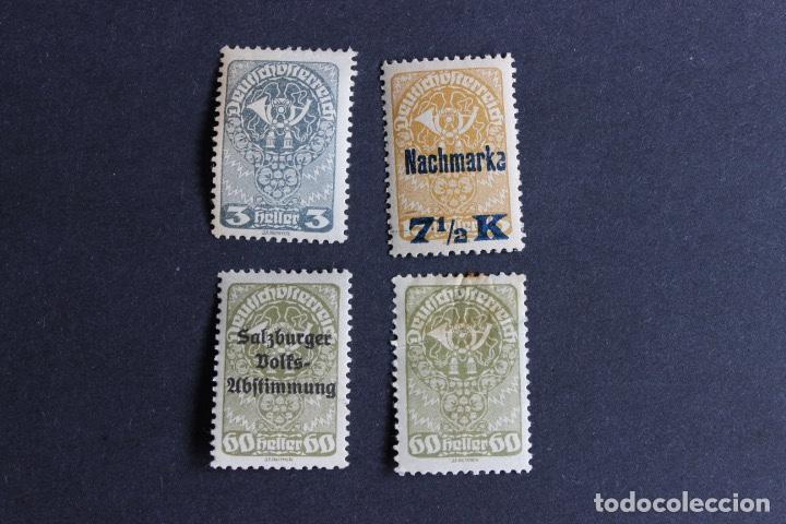 4 SELLOS NUEVOS AUSTRIA ALEMANA AÑO 1921. TROMPETA CORREOS (Sellos - Extranjero - Europa - Austria)