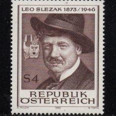 Sellos: AUSTRIA 1248 - AÑO 1973 - MUSICA - CENTENARIO DEL NACIMIENTO DEL TENOR LEO SLEZAK. Lote 260976900