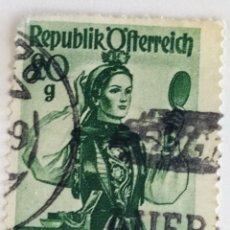 Sellos: SELLO DE AUSTRIA 20 G - 1958 - TRAJE REGIONAL - USADO SIN SEÑAL DE FIJASELLOS. Lote 261539065
