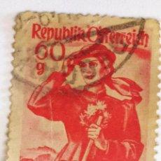 Sellos: SELLO DE AUSTRIA 60 G - 1958 - TRAJE REGIONAL - USADO SIN SEÑAL DE FIJASELLOS. Lote 261539130