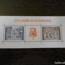 Sellos: AUSTRIA -HOJA BLOQUE PEQUEÑA -2 SELLOS-200 ANIVERSARIO BURGTHEATER-1976. Lote 261792100