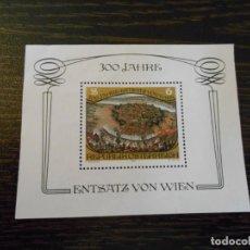 Sellos: AUSTRIA -HOJA BLOQUE PEQUEÑA -1 SELLO-300 ANIVERSARIO BATALLA DE VIENA-1983. Lote 261792385