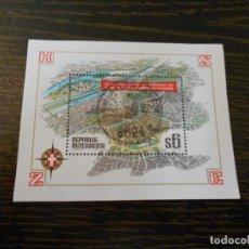 Sellos: AUSTRIA -HOJA BLOQUE PEQUEÑA -1 SELLO-CONFERENCIA DE SEGURIDAD DE VIENA-1986. Lote 261792650