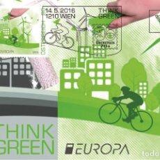 Sellos: AUSTRIA 2016 - EUROPA 2016 - THINK GREEN CARTE MAXIMUM. Lote 261879290