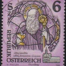 Sellos: AUSTRIA 1993 SCOTT 1601 SELLO º ARTE VIDRIERAS ST. BENEDICT OF NURSIA, (STAINED-GLASS) MICHEL 2108. Lote 262627250