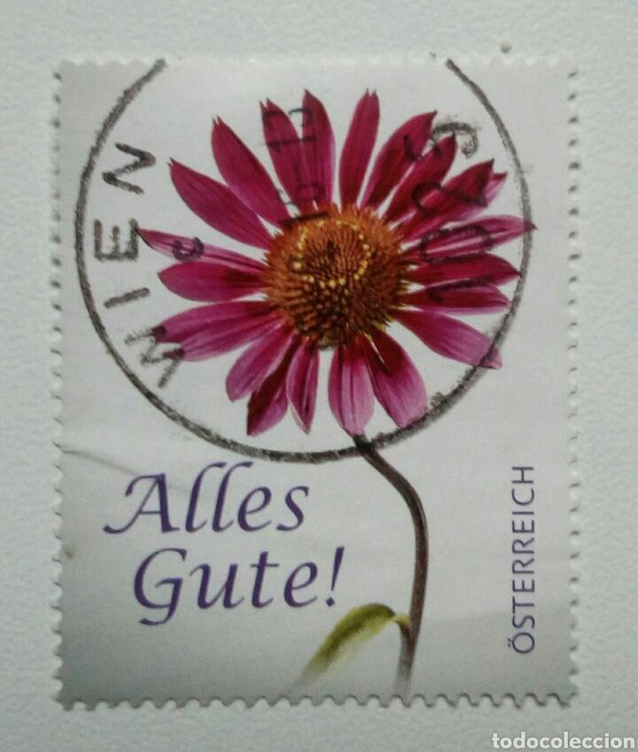 AUSTRIA FLORES DE FELICITACION SELLO USADO (Sellos - Extranjero - Europa - Austria)
