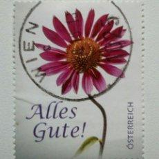 Sellos: AUSTRIA FLORES DE FELICITACION SELLO USADO. Lote 269027689