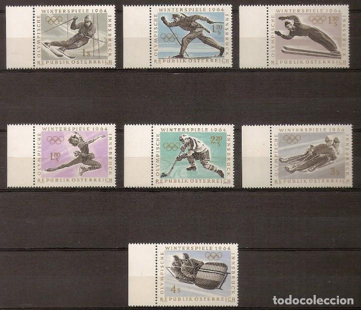 AUSTRIA 1963 - JJ.OO DE INVIERNO INNSBRUCK 1964 - YVERT 974/980 ** (BORDE DE HOJA) (Sellos - Extranjero - Europa - Austria)