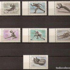 Sellos: AUSTRIA 1963 - JJ.OO DE INVIERNO INNSBRUCK 1964 - YVERT 974/980 ** (BORDE DE HOJA). Lote 277208283