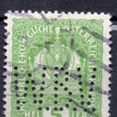 Sellos: AUSTRIA, 1916 , MICHEL 186 PERFINS BANCO DE VIENA. Lote 287996308