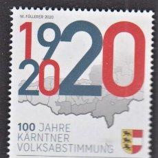 Sellos: 14.- AUSTRIA 2020 100 AÑOS DESDE EL PLEBISCITO DE CARINTIA. Lote 289479883