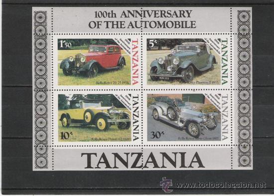 TEMA COCHES HOJITA DE TANZANIA (Sellos - Temáticas - Automóviles)