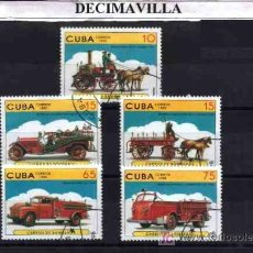 Sellos: TRANSPORTES, CUBA, COCHES DE BOMBEROS, 1998, L046, SERIE COMPLETA USADA. Lote 19955740
