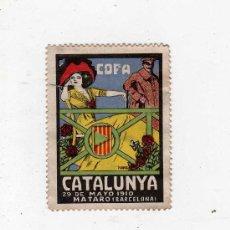 Sellos: (M-ALB1) VIÑETA COPA CATALUNYA, 29 DE MAYO 1910, MATARO ( BARCELONA ) 5'5 X 4 CM, SEÑALES DE USO. Lote 28970322