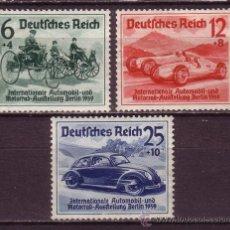 Sellos: ALEMANIA IMPERIO 627/29*** - AÑO 1939 - AUTOMOVILES - SALON INTERNACIONAL DEL AUTOMOVIL, BERLIN. Lote 33714453