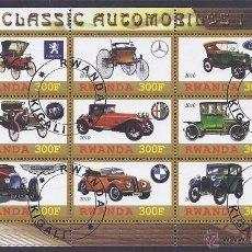 Sellos: RWANDA 2010 HOJA BLOQUE AUTOS CLASICOS PEUGEOT- MERCEDES BENZ- FORD- BMW- ASTON MARTIN- ALFA ROMEO . Lote 41228986