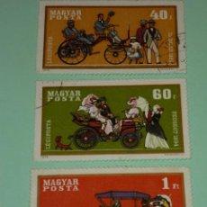 Sellos: LOTE 3 SELLOS HUNGRIA, TEMATICA AUTOMOVILES, AÑO 1970. Lote 41593264