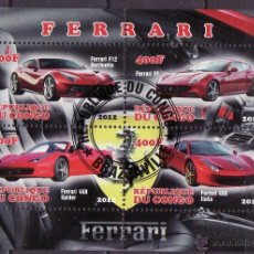 Sellos: CONGO 2012 HOJA BLOQUE SELLOS - AUTOS FERRARI- CARS- AUTOMOVIL - COCHES- VOITURES. Lote 42768787