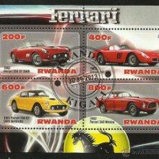 Sellos: RWANDA 2013 HOJA BLOQUE SELLOS - AUTOS FERRARI- CARS- AUTOMOVIL - COCHES- VOITURES. Lote 125809171
