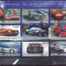 Sellos: DJIBOUTI 2010 HOJA BLOQUE SELLOS LOS AUTOS MAS RAPIDOS DEL MUNDO- BUGATTI- FERRARI- MC LAREN- JAGUAR. Lote 42928794