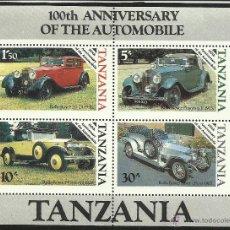 Sellos: TANZANIA HOJA BLOQUE T100 ANIVERSARIO AUTOMOVIL- AUTOS- CARS- MODELOS DE ROLL ROYCE- . Lote 44645487