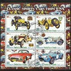 Sellos: SOMALIA 2010 HOJA BLOQUE SELLOS AUTOMOVILES CLASICOS DEPORTIVOS ANTIGUOS DE EEUU- AUTOS- CARS. Lote 45681066