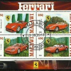 Sellos: MALAWI 2013 HOJA BLOQUE SELLOS AUTOMÓVILES MODERNOS-FERRARI- COCHES- AUTOS- CARS. Lote 47730210