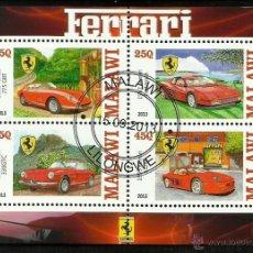 Sellos: MALAWI 2013 HOJA BLOQUE SELLOS AUTOMÓVILES MODERNOS-FERRARI- COCHES- AUTOS- CARS. Lote 47730218