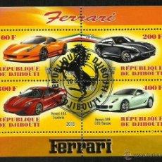 Sellos: DJIBOUTI 2013 HOJA BLOQUE SELLOS AUTOMÓVILES MODERNOS-FERRARI- COCHES- AUTOS- CARS. Lote 47730387
