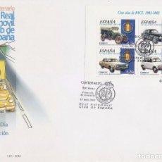 Sellos: EDIFIL 3996, CENTENARIO DEL REAL AUTOMOVIL CLUB DE ESPAÑA, COCHES ANTIGUOS, PRIMER DIA 27-6-2003. Lote 85644432