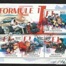 Sellos: REPUBLICA DE CENTRO AFRICA 2012 HOJA BLOQUE SELLOS COCHES - FORMULA 1 - VETTEL - HAMILTON - ETC. Lote 87270512