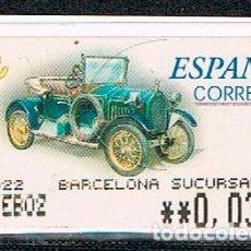 Sellos: ETIQUETA DE VALOR VARIABLE, AUTOMOVILES; HUMBER T DE 1910 (AÑO 2001), NUEVO. Lote 87358504