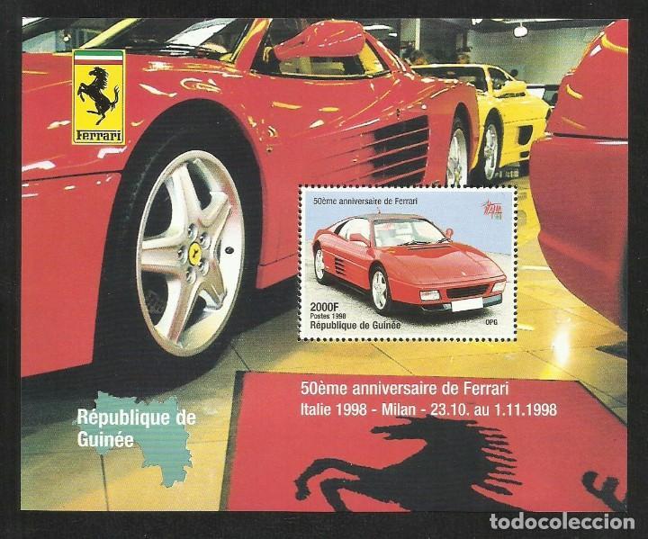 GUINEA 1998 HOJA BLOQUE SELLOS AUTOS 50 ANIVERSARIO FERRARI- COCHES- AUTOMOVIL (Sellos - Temáticas - Automóviles)