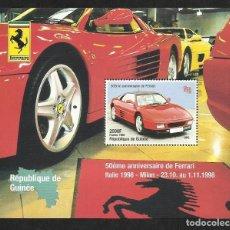 Sellos: GUINEA 1998 HOJA BLOQUE SELLOS AUTOS 50 ANIVERSARIO FERRARI- COCHES- AUTOMOVIL. Lote 96270023