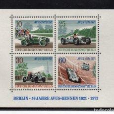 Sellos: BERLIN HB 3** - AÑO 1971 - AUTOMOVILES - 50º ANIVERSARIO DE LAS CARRERAS DE AUTOMOVILES AVUS. Lote 118126606