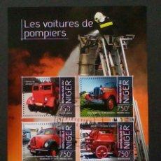 Sellos: VEHÍCULOS DE BOMBEROS 2 HOJAS BLOQUE DE SELLOS USADOS RECIENTES AUTÉNTICOS DE NIGER. Lote 100888815